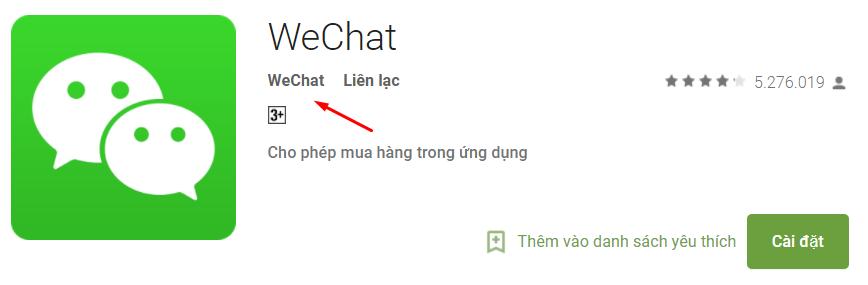ứng dụng wechat trên google chplay