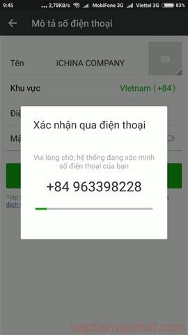 đợi mã xác thực gửi về điện thoại