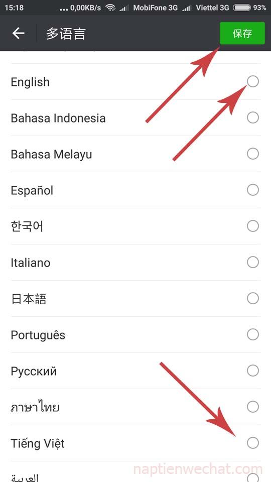 lựa chọn ngôn ngữ trong wechat